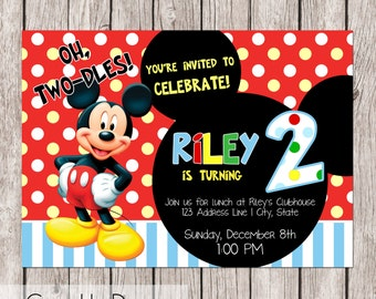 Oh, Two-dles! - Mickey Mouse Club House Second Birthday Invitation - MMCH - Printable - 5x7