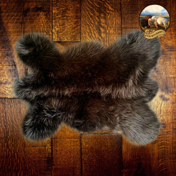 Shaggy Faux Fur Baby Brown Bear Skin Accent Pelt Rug By