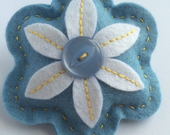 Blue Felt Flower Brooch