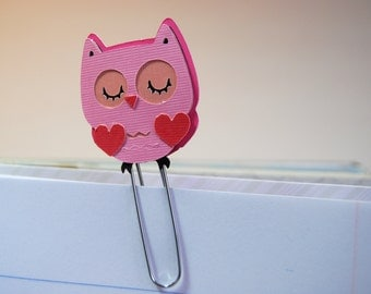 Pink Owl with Hearts Planner Clip, Page Clip, Bookmark Paper Clip, Handmade Paper Pieced Image