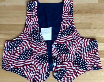 Patriotic Woman's American Flag Vest for Independence Day, July 4