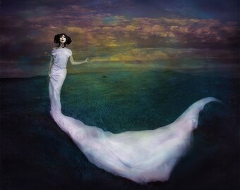 Wicked Game is a Gothic styled photographic portrait of a woman with a swirling white gown in a open field with a moody sky, wall art, Goth