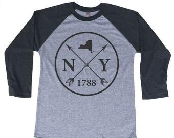 Homeland Tees New York Arrow Tri-Blend Raglan Baseball Shirt
