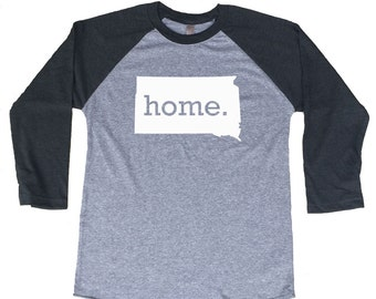 Homeland Tees South Dakota Home Tri-Blend Raglan Baseball Shirt