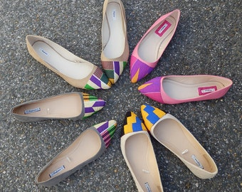 Pink womens flat shoes, Ballet Flats shoes, Pink bridal flat shoes, Ankara pumps, Pink ballerina shoes (UK Size 5)