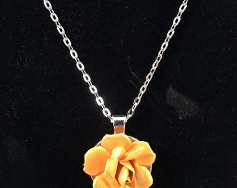 OOAK Flower Yellow Pendent Necklace