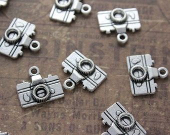 10 Camera Charms camera Pendants Antiqued Silver Tone Double Sided 3D 10 x 15 mm