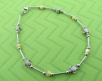 "turtle stainless steel & ""mother of pearl"" ankle bracelet anklet"