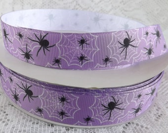 Spider web ribbon 7/8 Halloween ribbon purple spider ribbon Halloween ribbon