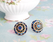 Crystal Oversized Stud Earrings, Vintage Swarovski, Large Caribbean Blue Triple Layer Round, Set on Sterling Silver Posts