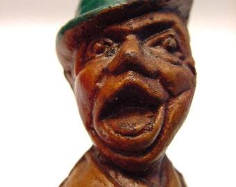 Loud Mouth Drunk Bottle Stopper Vintage Humorous Collectible Man Wearing Bowler Hat