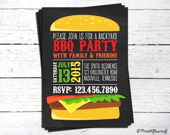 BBQ Invite // Personalized Printable Chalkboard Backyard BBQ Hamburger Invitation // Burger invitation // BBQ Invitation // Barbcue Invite