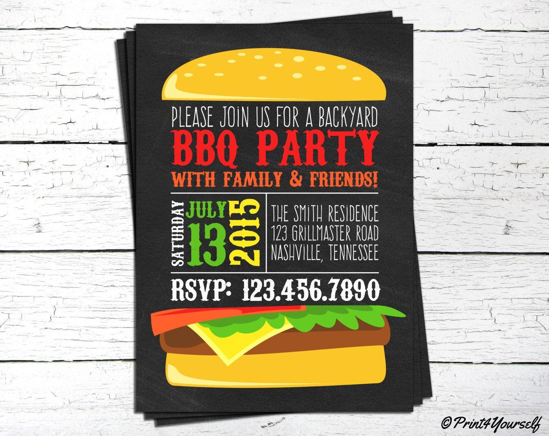 Backyard Bbq Wedding Invitations: BBQ Invite // Personalized Printable Chalkboard Backyard BBQ