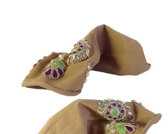 Embellished Ankle Sock: Green And Purple Jewels