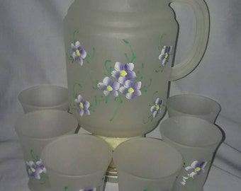 1960's Frosted Glass and Hand Painted Violets, Beverage Pitcher and 6 Matching Glasses.