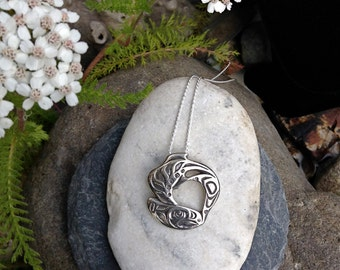 Alaskan Silver Salmon Necklace,NWC Salmon Necklace, Native Style Salmon Necklace, Made In Alaska, Salmon Totem, Salmon Jewelry, Salmon Charm