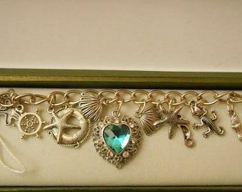 Blue heart charm bracelet ( Titanic )