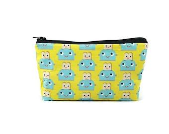 Kawaii Toasters Makeup Bag, Zippered Cosmetic Bag, Zipper Pouch, Toiletry Bag, Tampon Case, Purse Organizer, Small Bag