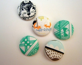 5 Fabric Buttons , Art Gallery, Indian Summer, turquoise, forrest, fox, orange,handmade 1 1/8 inches