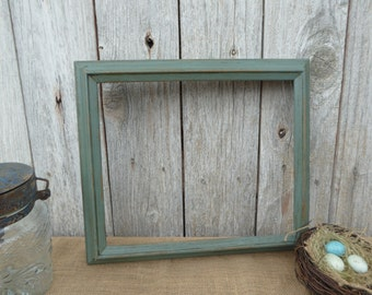 Hand Painted 12 x 14 Wood Frame 11 X 13 Opening~ Aged Sage Green ~ Shabby Chic ~ Rustic Farmhouse