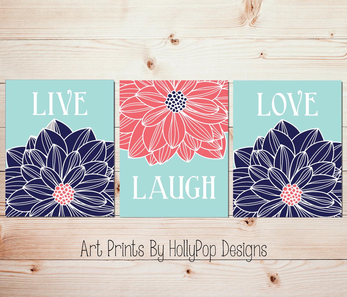 Live Laugh Love Home Decor Prints Navy Aqua Coral Wall Art
