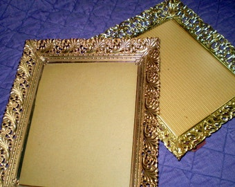 "Vintage FILIGREE FRAMES LOT Ornate Gold Metal Frames Fit 8""x10"" Easel Prop & Wall Hang Photo Wedding Craft Display Hollywood Regency Decor"