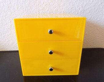 Vintage Yellow Jewelry PALA Box Container Storage Scandaniva Finland Danish Modern Mod