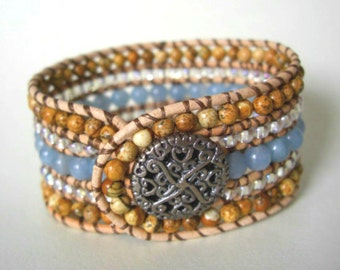 Picture Jasper, Light Blue Jade & Clear Silver-lined Glass Beads, Natural Leather Beaded Cuff Bracelet