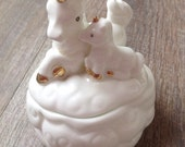 Vintage Unicorn Baby Mama Trinket Jewelry Box Dish Storage White Ceramic Porcelain Clouds Gold Gilt Horns Hoofs Girl Gift Fantasy