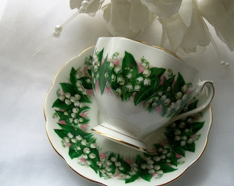 Vintage Rosina teacup -Lilly of the Valley- vintage teacups - vintage china - English china- teacups -tea party - English china teacups