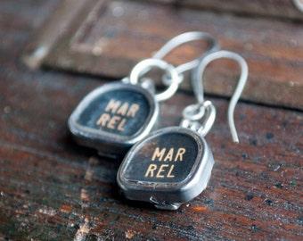 Typewriter earrings, vintage typewriter jewelry, Black & white earrings, margin release,steampunk earrings, teacher gifts, vintage earrings,