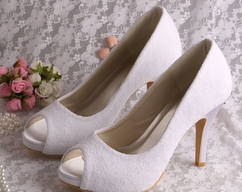 Custom handmade ivory white plain simple Lace Bridal wedding satin Peeptoe platform high heels court