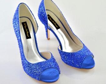 Cobalt Sapphire Navy Blue fusion Swarovski crystal wedding bridal Mid Heel peeptoe Dorsay shoes sandal
