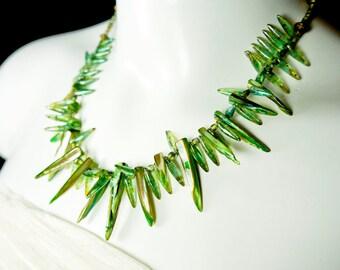 Jewellery, Statement Necklace, Bold Tribal Necklace, Green Necklace, Green Spear Necklace, Shell Necklace, Spike necklace, Green spikes