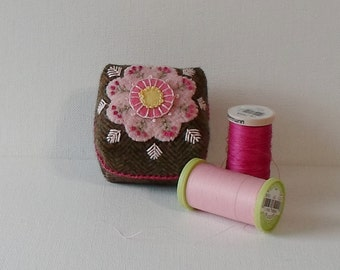 Handmade Pincushion Felted Wool Brown Tweed with Pink Flower & Pink Leaves Mini Cushion