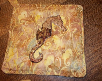 Appliqued Seahorse Summertime Batik Pot Holders
