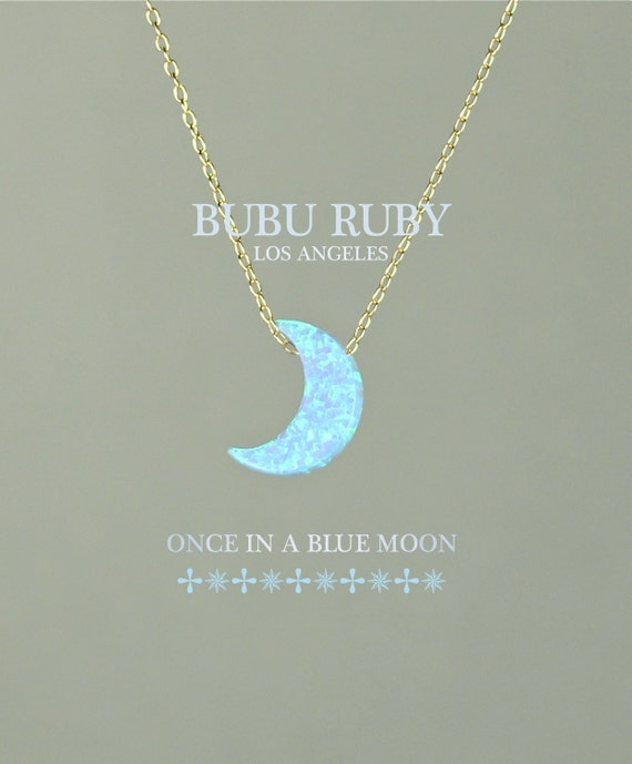 Blue moon necklace - opal moon necklace - moon necklace - a half moon hanging from a 14k gold vermeil or sterling silver chain