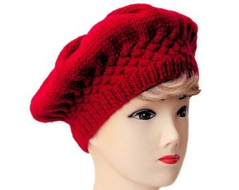 Red Beret, Women's Beret, Red Hat, Knit Hat, Knitted Beret, Cable Knit, Women's Hat, Edwardian Hats for Women, Winter Hat, Sue Maun