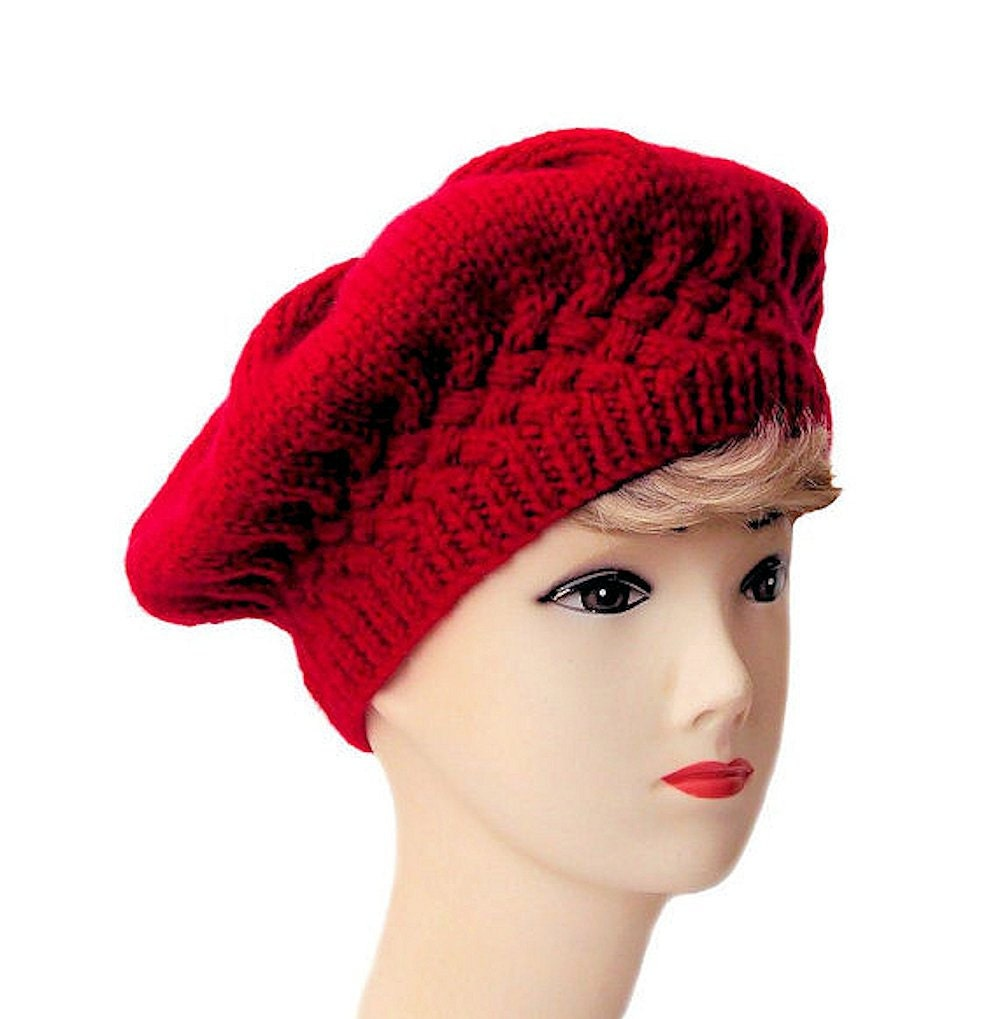 Red Beret Women's Beret Red Hat Knit Hat Knitted Beret