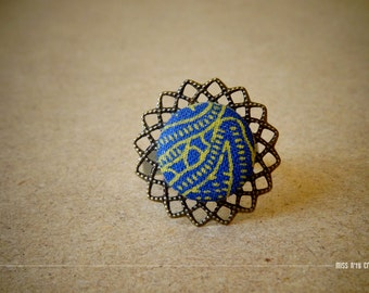 Afro Chic Retro Flower Ring adjustable African fabrics