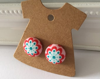 Fabric Button Stud Earrings ~ Retro Flower ~ Silver Plated