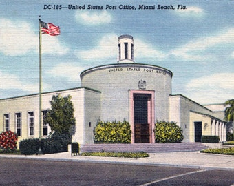 Art Deco 1940's Miami Beach Post Office  United States Main Post Office Post Card Art Deco Architecture