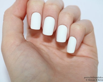 Acrylic nails etsy matte white short square nails nail designs nail art nails stiletto nails prinsesfo Choice Image