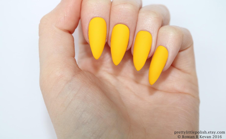 Matte Yellow Stiletto Nails Fake Nail Kylie