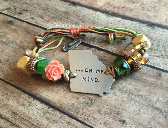 Georgia On my mind--state of Georgia- bracelet . Personalized, Hand-Stamped Jewelry