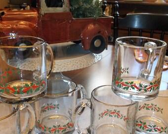 Six Vintage Glass Christmas Mugs Mid Century Christmas Cups/Mugs