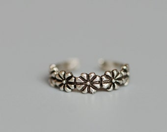 925 Sterling Silver Five Little Flower Adjustable Tail Ring 1156