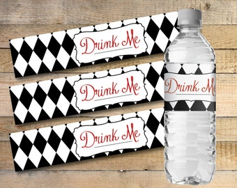 Alice In Wonderland Printable Water Bottle Labels