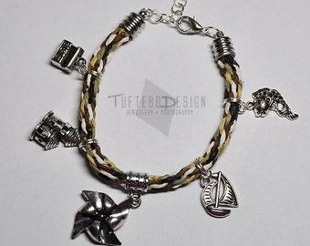 the legend of zelda wind waker charm bracelet, zelda charms, kumihimo zelda bracelet, wind waker bangle, sailing charm bracelet, loz