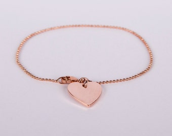 Bracelet Rosegold Heart Love Chain Plated Hearts Rosegold Plated Ballchain Chain Rosegold Plated